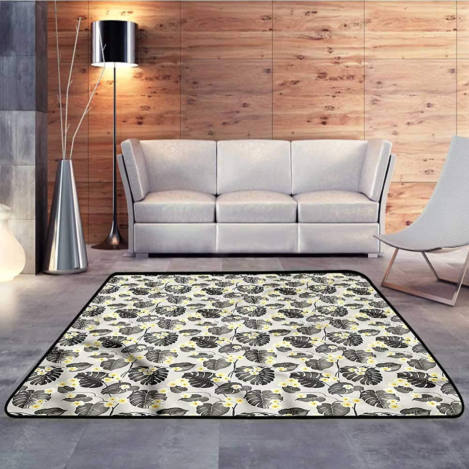 Carpet mat,Grey and Yellow,Tropical PlumeriaW 35  x L59 Floor Mat Entrance Doormat