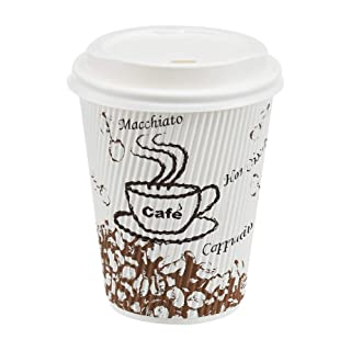 AmazonBasics Insulated Ripple Wall Hot Cups with Lids, Café Design, 12 oz, 100-Count