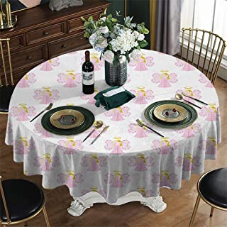 KFUTMD Overlays Round Tablecloth Christmas Angel Cute Angels Spiritual Wing Girl with Halo Fairy Tale Surreal Kids Cartoon Baby Pink Earth Yellow Table Cloth Plastic Diameter 54