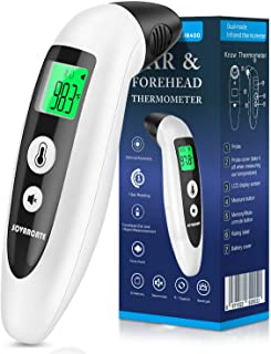 Forehead Thermometer SOVARCATE Ear Thermometer for Fever with Fever Alarm and Memory Function Instant Accurate Reading for Baby Kids Adults - New Algorithm