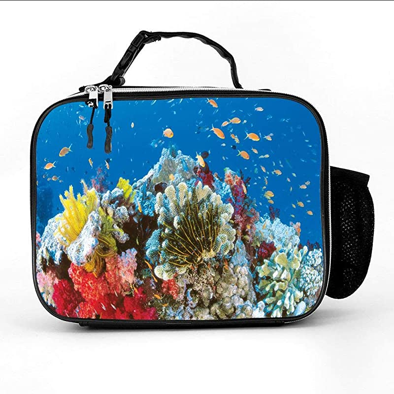 Great Barrier Reef Insulated Neoprene Large Lunch Bag Tote Reusable Thermal Lunch Tote Lunch Box Bag Handbag For Women Men Kids For School Work Office