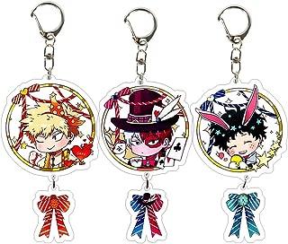 HomMall Anime Characters Figure Pendants Doll Metal Keychain Japanese Anime Cartoon Key Rings(My Hero Academia-1)
