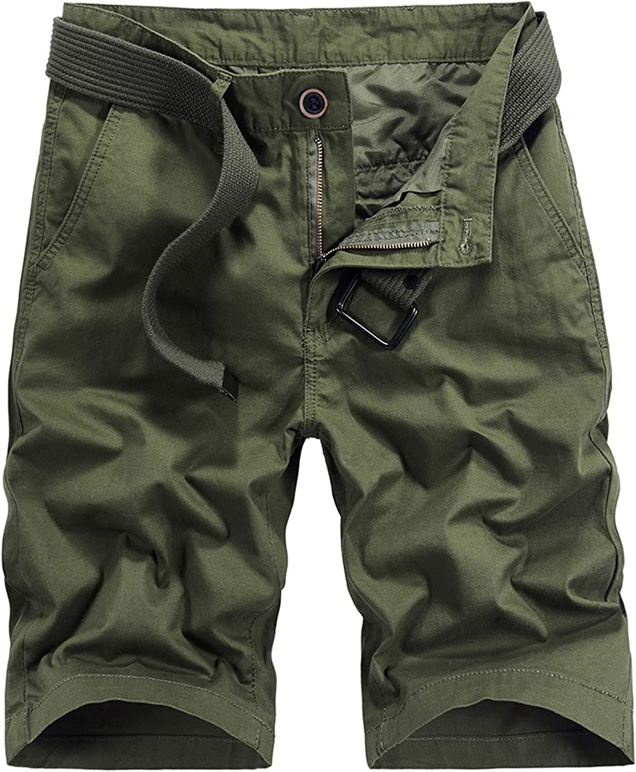 Mens Cotton Casual Outdoor Cargo Short Durable Baggy Work Short-Pant Running Training Straight Fit Shorts with Pockets