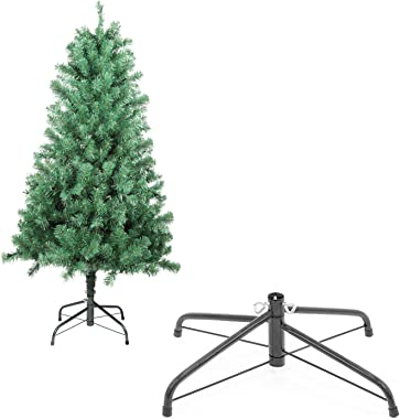 Benazcap Premium Artificial Hinged 4.5ft Unlit Christmas Tree with 510 Branch Tips and Metal Stand