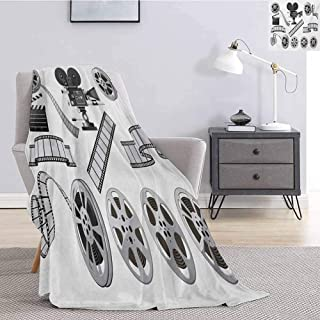 Luoiaax Movie Theater Plush Blanket for Bed Couch Movie Industry Themed Greyscale Illustration of Projector Film Slate and Reel Lightweight Life Comfort Blanket W70 x L93 Inch Grey Black