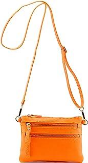Multi Zipper Pocket Small Wristlet Crossbody Bag and Envelope Wristlet Clutch Fluorescent Neon Colors