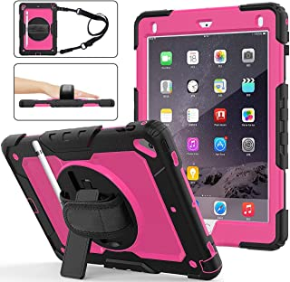 iPad 9.7 case with Pencil Holder, Hybrid Protective Shockproof Rugged Kids Case with Screen Protector, Hand Strap & Shoulder Strap, Kickstand for iPad Air 2/iPad Pro 9.7, 6th/5th Gen 2018/2017-Pink