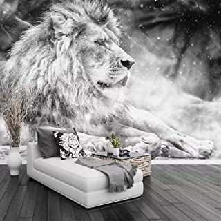JINFANGBZ Papel Pintado 3D Fotomurales León animal blanco y negro no-trenzado Papel tapiz Salón Dormitorio Despacho Pasillo Decoración murales decoración de paredes moderna 200cm x 150cm