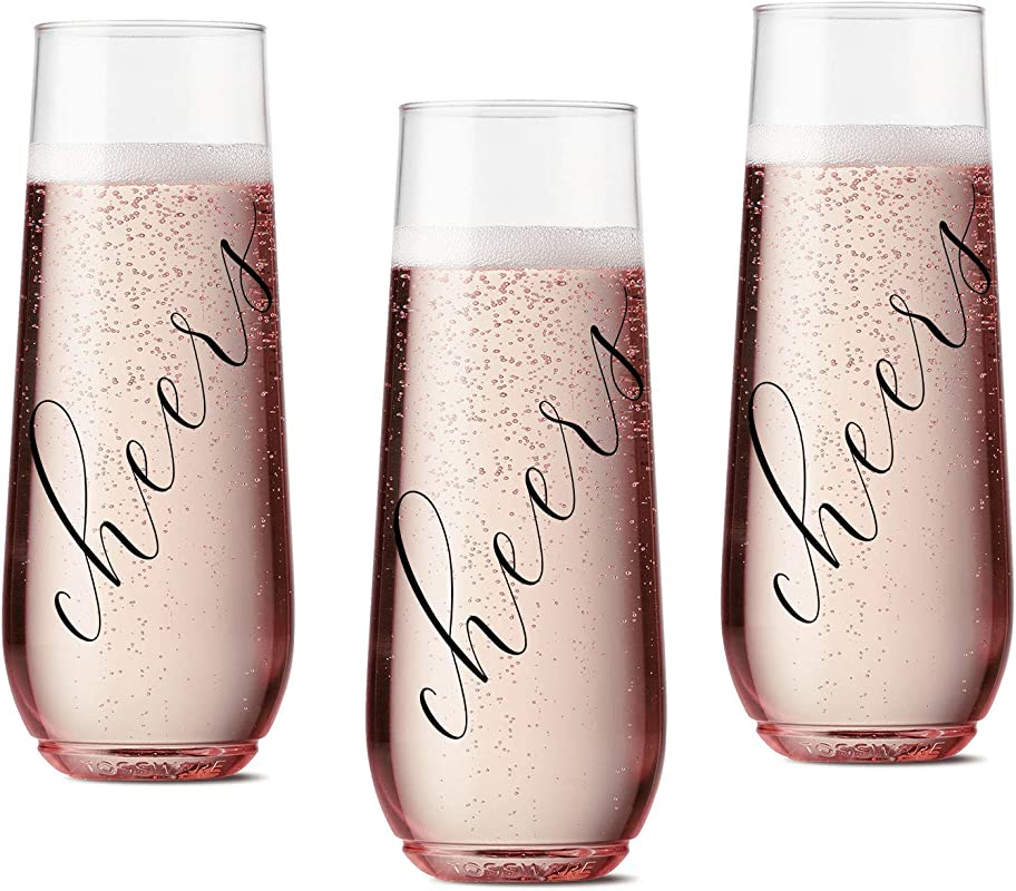 Set Of 12 CHEERS Flutes For Wedding Reception Bachelorette Party And Bridesmaid Plastic Stemless Cups