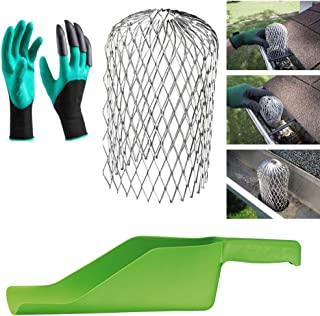 MASSCA Gutter Guard downspout 3 Inch Expand Aluminum Filter Strainer Plus Cleaning Tool. Scoop and Gloves with Claws Included. Stops Blockage Leaves Debris.
