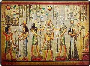 Use7 Alfombra de área de Papel Vintage de Hieroglyph Egipcio para Sala de Estar o Dormitorio, Tela, 160cm x 122cm(5.3 x 4 Feet)