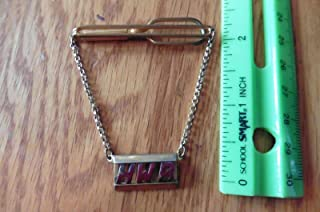 Swank Tie clip For Vintage scarf clip chain with Monogram HWB gold tone