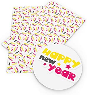 David accessories Happy New Year Printed Synthetic Leather Fabric Sheets 3 Pcs 8