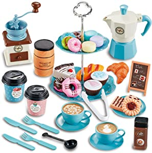 CYZAM Tea Party Set Pretend Play Food Playset Accessories, Coffee Pot Dessert Play Kitchen Set Toy for 3 4 5 6 Years Old Kids, Birthday Gift for Boys Girls