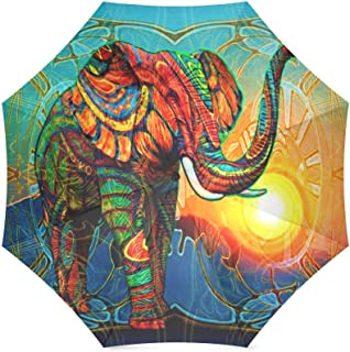 Colorful India Elephant Folding Windproof outdoor Travel Umbrella for Women