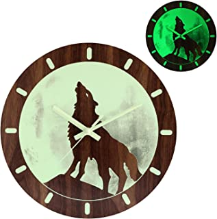 Kesin Night Light Wooden Wall Clock 12 Inch Silent Battery Operated Wall Decorative Moon Wolf Clock for Living Room Kitchen Bedroom Office (Wolf Luminous Clock)