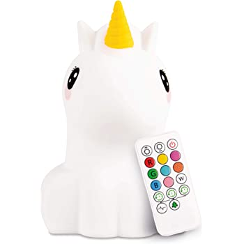 LED Nursery Unicorn Night Light for Kids LumiPets Cute Animal Silicone Baby Night Light with Touch Sensor - Portable and Rechargeable Infant or Toddler Color Changing Bright Nightlight & Baby Gifts