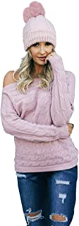 Women's Cable Knit Boat Neck Off The Shoulder Sweater with Batwing Sleeves and Removable Rose