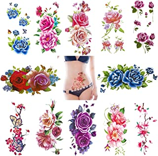 Temporary Tattoos for Women Body Art Stickers Rose Flower Butterfly Tattoos Supplies DIY Beautiful Decorations Decal Waterproof 12 Sheets Patriotic people Large Style Stickers