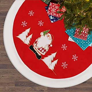 DEKINMAX Christmas Tree Skirt-48 inches,Double-Layer Design Santa And Snowflake Hand Embroidery Pattern Xmas Tree Skirt ,Holiday Tree Ornaments For Christmas Home Decorations