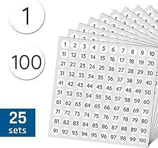 1-100 Números Círculo Pegatinas - 1cm, 25 hojas, Paquete de 2500