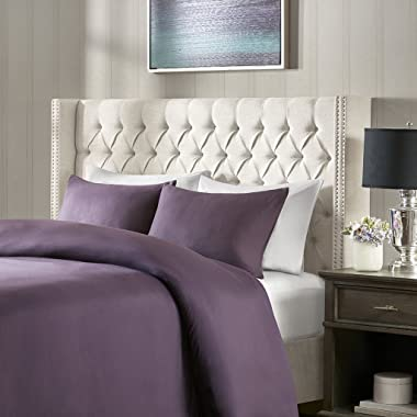 Madison Park Amelia Upholstered Headboard | Nail Head Trim Wingback Button Tufted | King, Cream