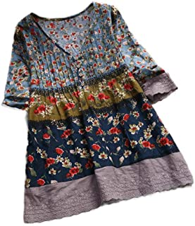 MogogNWomen Oversize Button Up V-Neck Flower Print Colorblock Blouse Mini Dress
