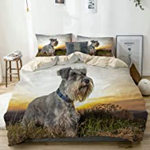BGNHG Decorative Duvet Cover Sets Bed Sheets,Beige,Dog Schnauzer,3 Piece Bedding Set with 2 Pillow Cases King Size