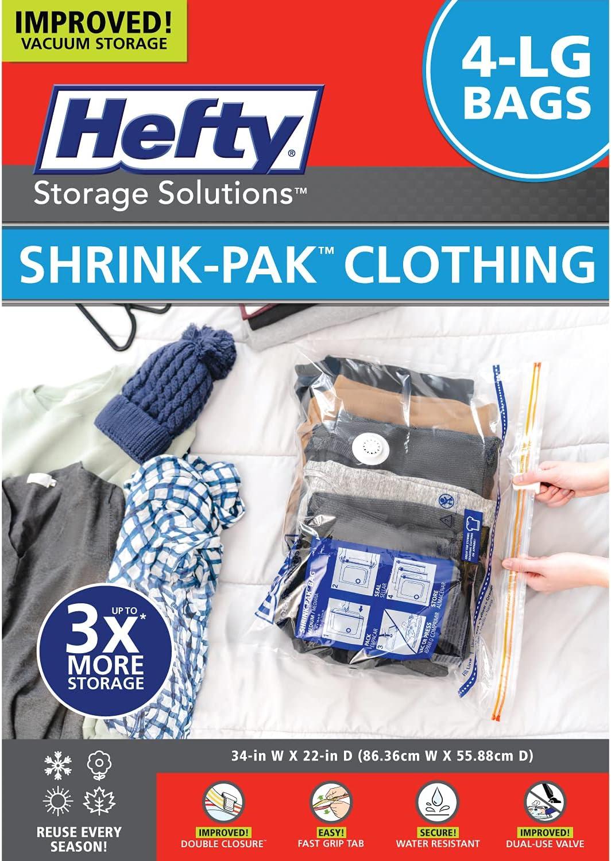 Hefty Shrink Pak 4 Large Direct sale of manufacturer Reusable Bags Compression Inventory cleanup selling sale Vacuum
