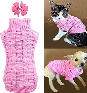 Aiwind Dog Cat Sweater Warm Braid Plait Turtleneck Knitwear Soft Fall Pullover Winter Pet Clothes for Dog Puppy Kitten Cat