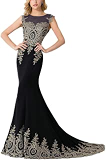 Women's Embroidery Lace Long Mermaid Formal Evening Prom Dresses