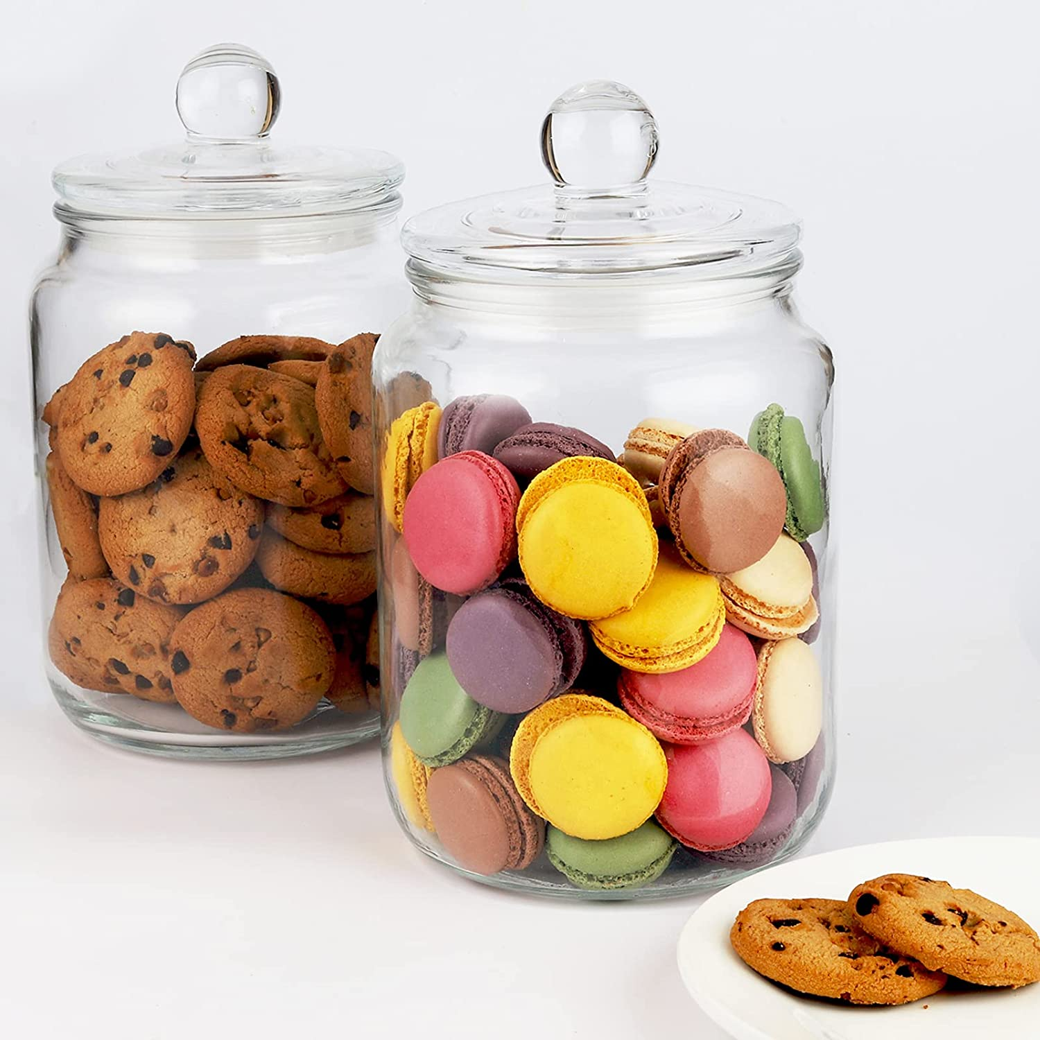 Glass Cookie Jar Challenge the lowest price of Japan ☆ Set of 2 Raleigh Mall 1 Gallon Storage Lid with