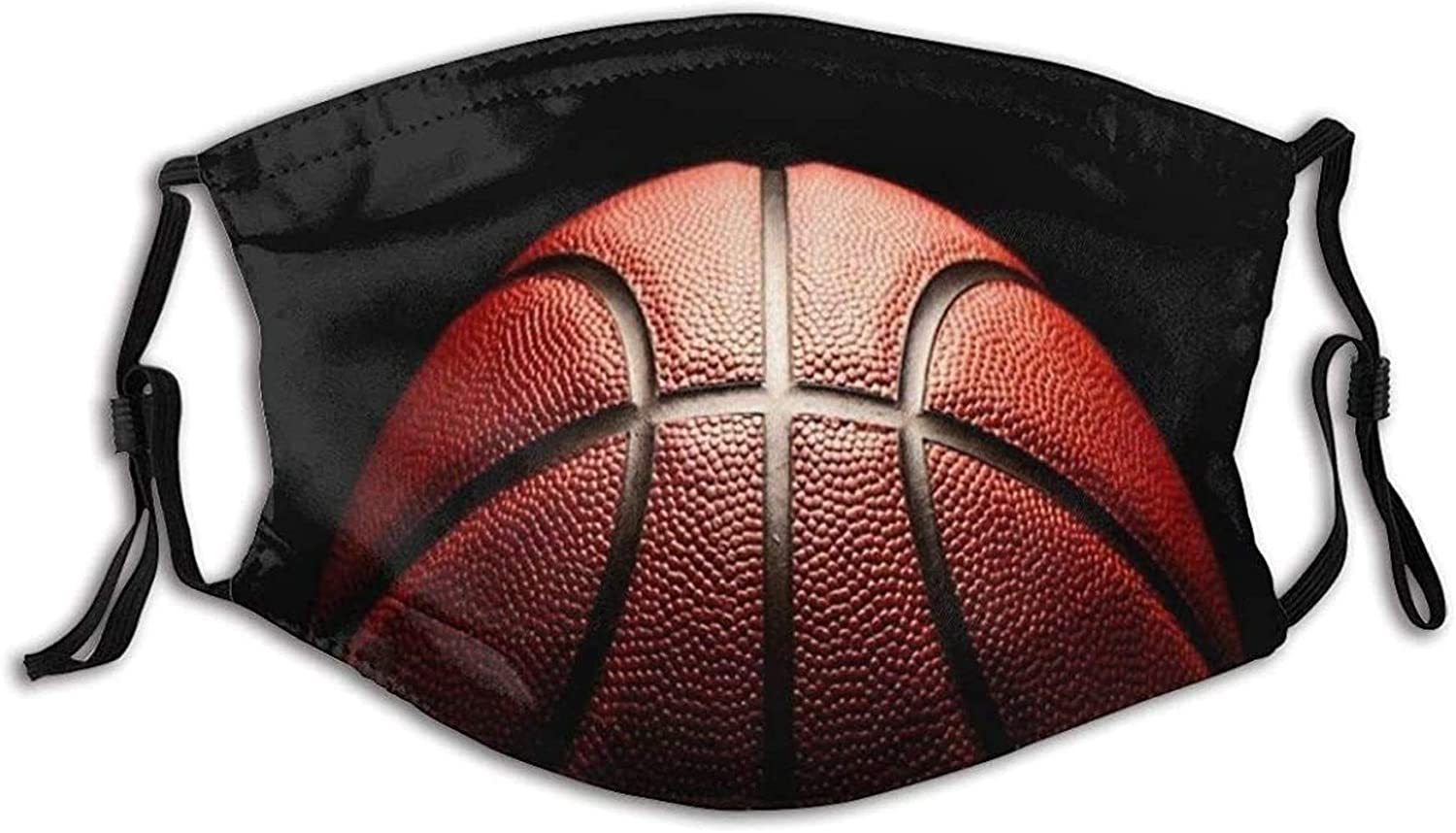 EILANNA Orange Four Basket Competition Lose Court Grip Basketball Sports Recreation Ball Detail Hoop Macro Fabric Half Face Mask Mouth Masks with Earmuffs Anti Dust Anti Haze Windproof Mask