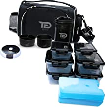 Meal Prep Bag By TO GO Double Insulated Lunch Meal Bag W/6 Portion Control Containers, 2 Large Ice Packs, Protein Shaker, Pill Box, with an Adjustable Double Shoulder Strap. BPA-Free (Black/new)