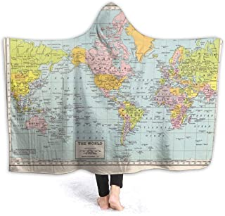 YongColer Extra Soft Hoodie Throw Wrap for Bed Couch Chair Living Room, Large Wearable Blanket Super Warm Sherpa Flannel Travel Blankets (Vintage World Map Blanket, 50x60 inch)