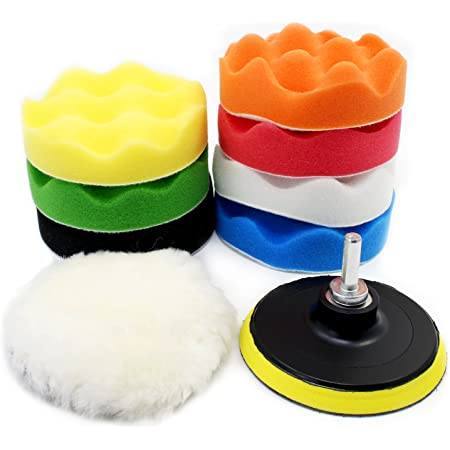19pcs 4 inch Sponge Polishing Waxing Buff Pads Set Kit with M10 Drill Adapter for Car