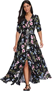 فستان بتصميم ماكسي للصيف، مزين بطباعة زهور للنساء، ذو ازرار للاعلى، فستان بوهيمي طويل فضفاض ملائم لحفلات الشاطئ
