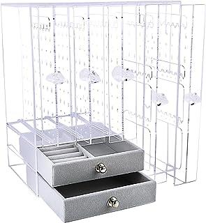 Porte Présentoir Bijoux Boîte Rangement Boucle d'Oreille Transparent 370 Trous 5 Plateaux Amovible Organisateur Maquillage...