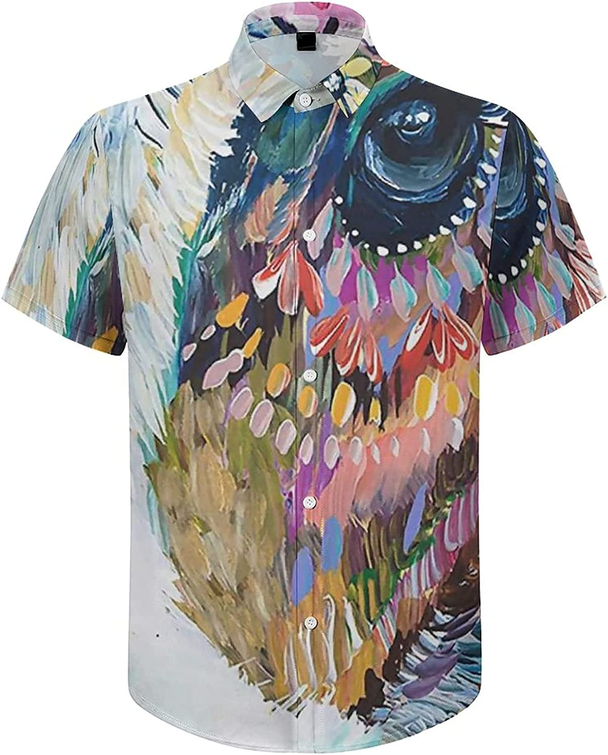 Men's Short Sleeve Button Down Shirt Watercolor Cow with Flowers Summer Shirts