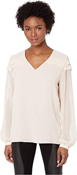 V-Neck Top with Pleats
