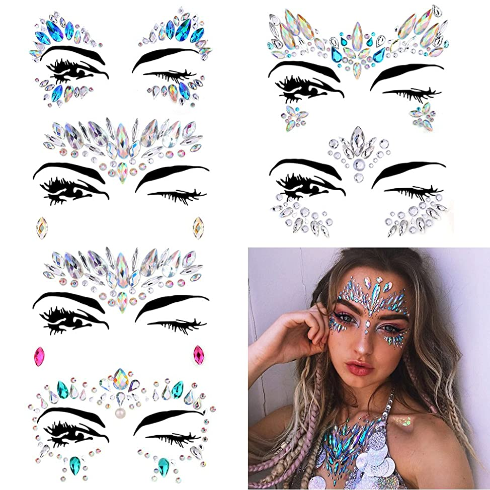 6 Sets Women Mermaid Face Gems Glitter,Rhinestone Rave Festival Face Jewels,Crystals Face Stickers, Eyes Face Body Temporary Tattoos zlxfomyw208