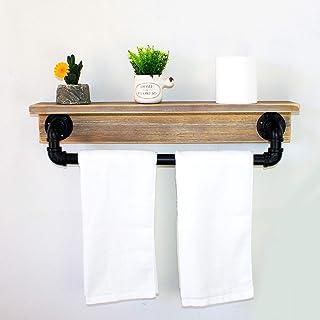 MBQQ 工業用素朴な壁棚 タオルバー付き 24インチ ファームハウス タオルラック バスルーム用