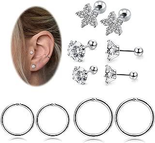 Helix Cartilage Earrings Conch Tragus Piercing Jewelry for Women Girls Stainless Steel CZ Earring Set