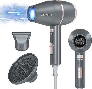 CONFU Fön Föhn Ionen 2000W Haartrockner Haarfön mit diffusor 57 ℃ Konstante Temperatur sperren die Haarfeuchtigkeit 3 Temperatureinstellungen zum schnellen Trocknen Zuhause oder unterwegs Silber grau