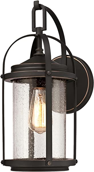 Westinghouse Lighting 6339300 Grandview One Light Outdoor Wall Fixture Oil Rubbed Bronze Finish With Highlights And Clear Seeded Glass