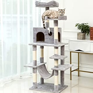 P PURLOVE Cat Tree Multi-Level Cat Tower with Sisal-Covered Scratcher Slope Scratching Posts Plush Perches and Condo for Kittens Cats and Pets