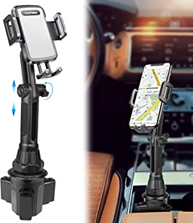 Car-Cup-Holder-Phone-Mount Adjustable Long Pole Automobile Cup Holder Smart Phone Cradle Car Mount for iPhone 11 Pro/XR/XS Max/X/8/7 Plus/6s/Samsung S10 /Note 9/S8 Plus/S7 Edge-Grey