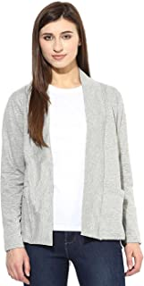 Espresso Women's Full Sleeve Front Open Viscose Shrug/Cardigan with Pockets - Grey Melange