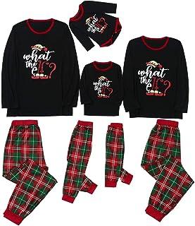 PowerFul-LOT® Christmas Family Pajama Matching Set │ Christmas Letter Plaid Print Top Blouse+Pants Holiday Sleepwear Soft ...