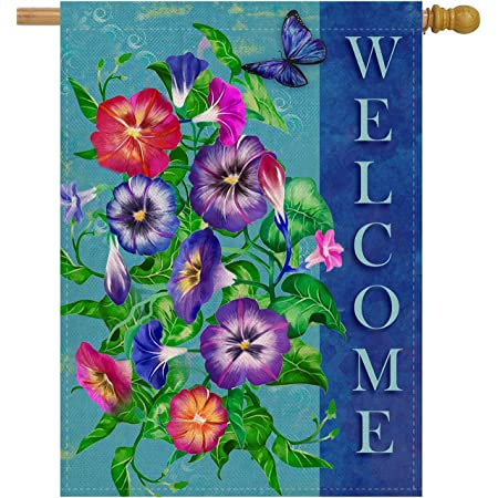 Dyrenson Spring Summer Pansies Flower 28 X 40 House Flag Large Double Sided Welcome Quote Floral House Garden Yard Decoration Home Butterfly Decorative Seasonal Outdoor Décor Burlap Flag Garden Outdoor